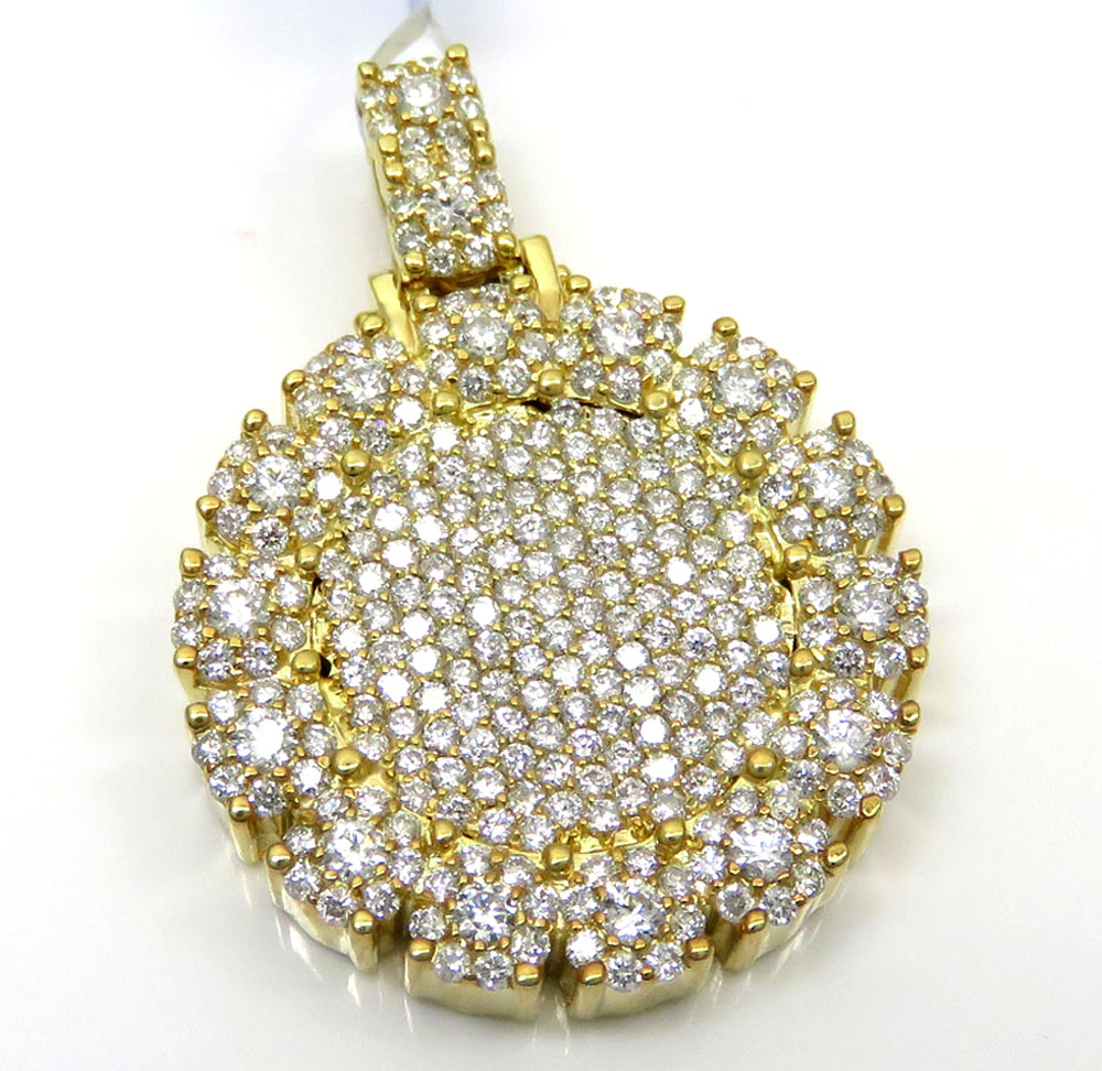 14k yellow gold fully iced small medallion pendant 3.05ct