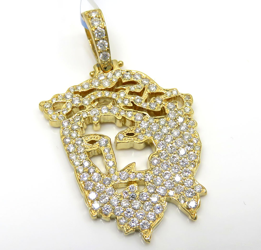 in sterling silver yellow plated gold pendant head main jesus diamond