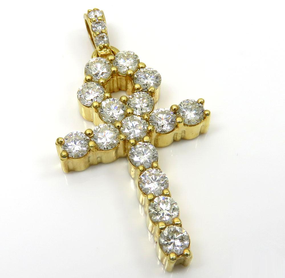 14k yellow gold fancy 18 diamond medium ankh cross 4.60ct