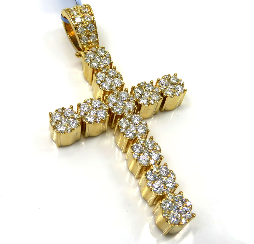 14k yellow or white gold nine diamond cluster cross 3.66ct