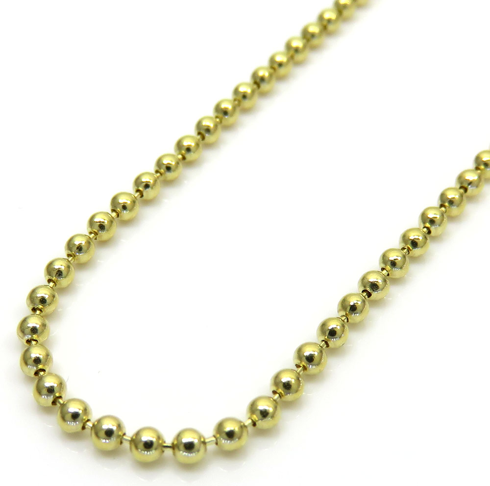 10k yellow gold skinny combat ball link chain 20-28 inch 1.5mm