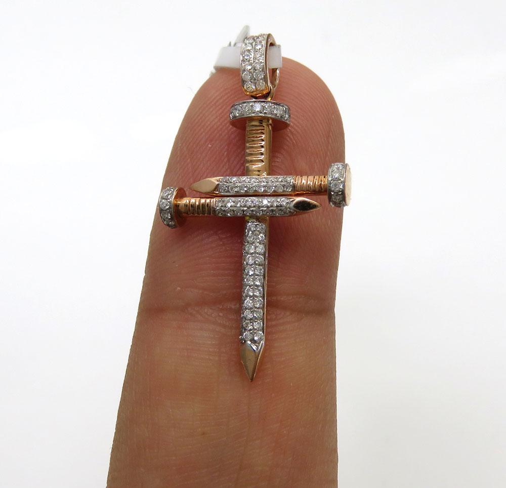 14k rose gold mini diamond nail cross 0.43ct