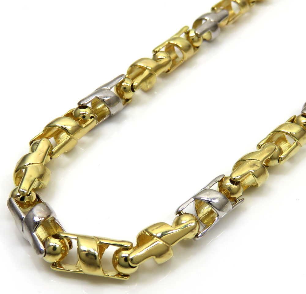 10k two tone gold alternating twist cut chain 36 inch