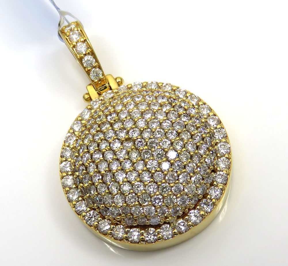 14k yellow gold fully iced out circle pendant 2.68ct