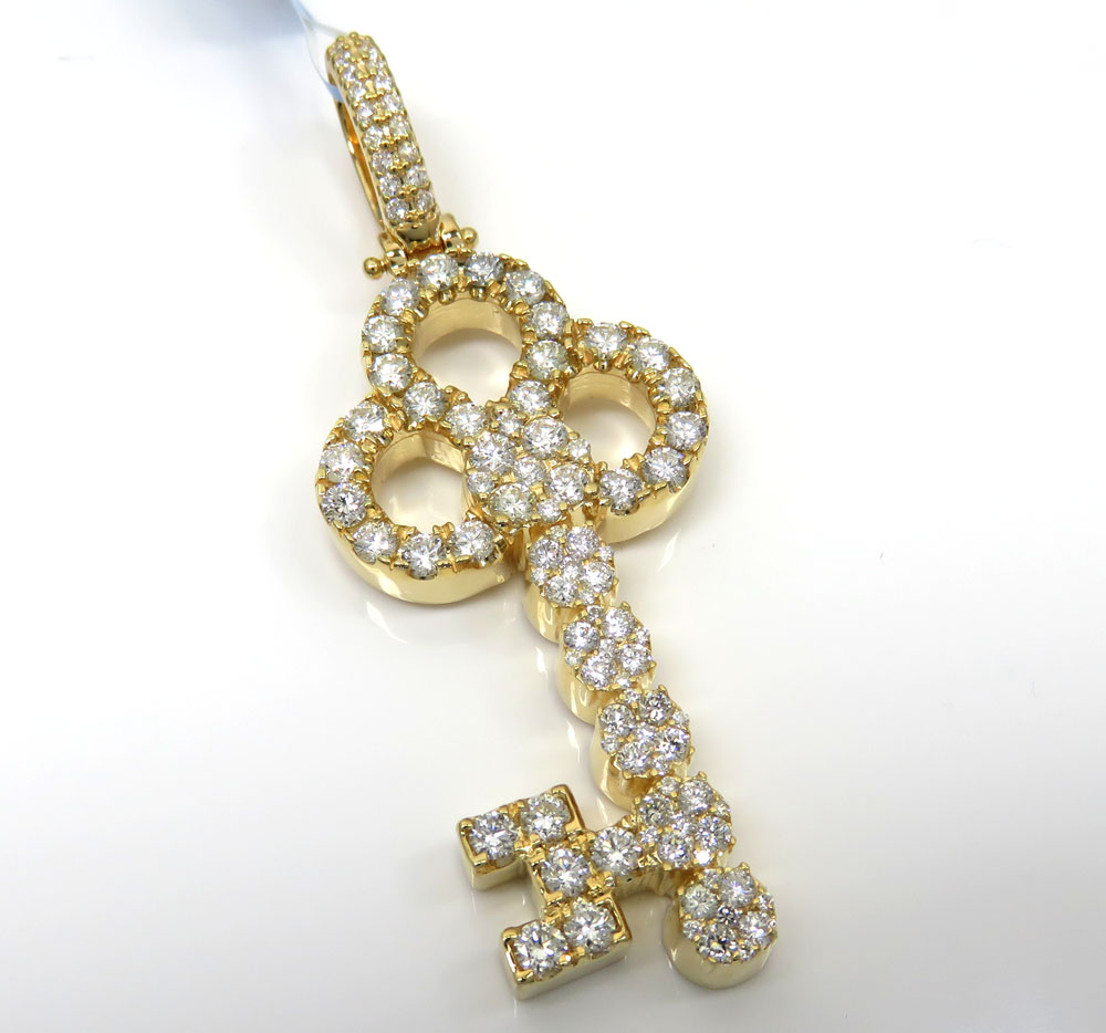 14k yellow gold large diamond key pendant 3.54ct