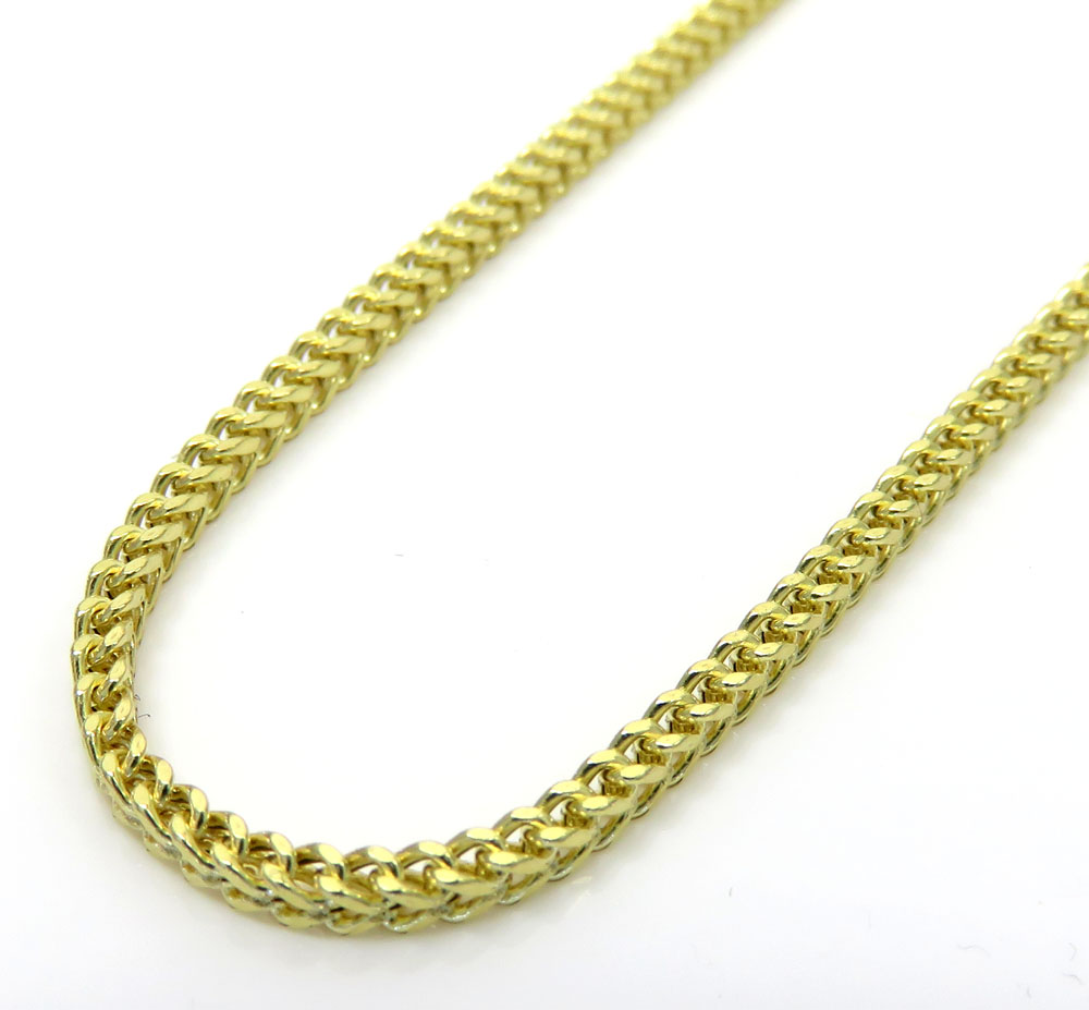 10k yellow gold hollow skinny franco link chain 18-26 inch 1.8mm