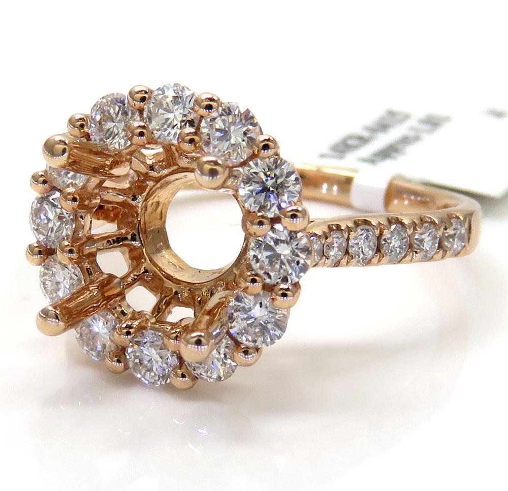 14K Rose Gold Round Diamond Halo Semi Mount Ring 1.01CT