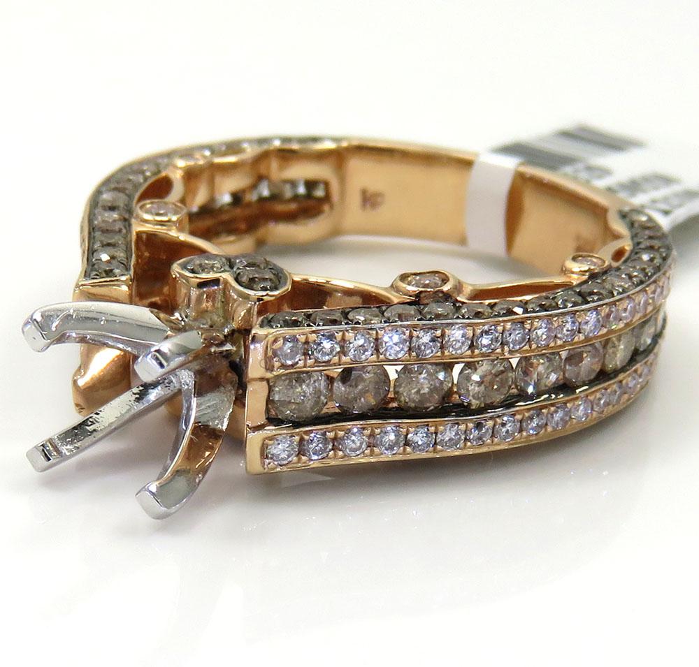 Ladies 14k rose gold champagne & white diamond engagement ring 2.12ct