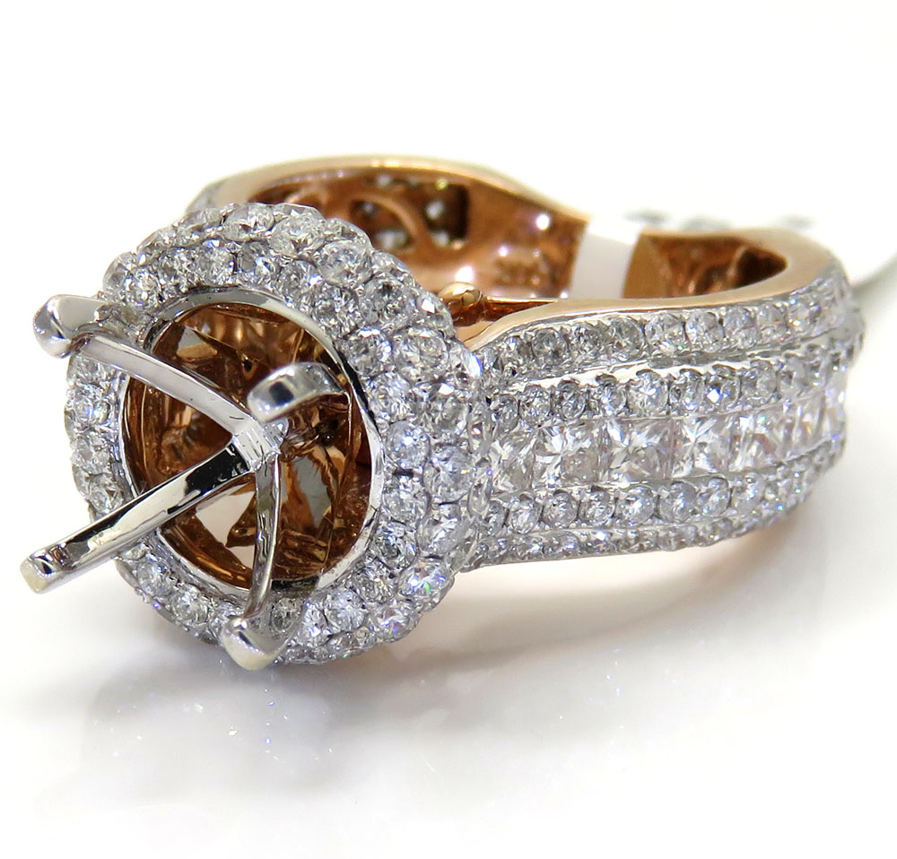 Ladies 14k rose gold diamond semi mount invisible setting ring 3.52ct