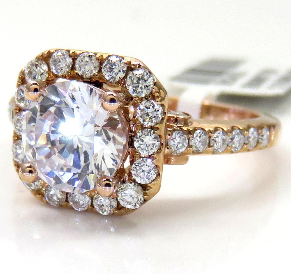 14k rose gold round diamond square halo semi mount ring 0.52ct