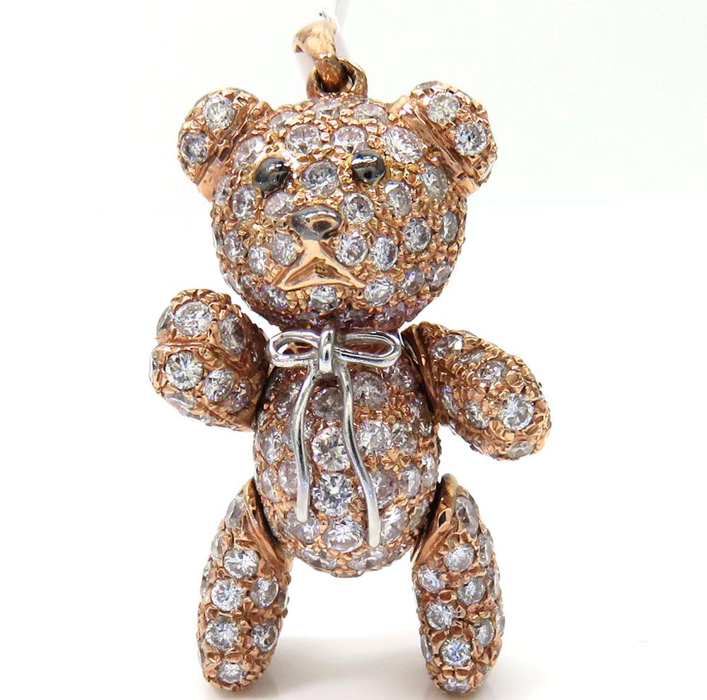 14k rose gold teddy bear diamond pendant 4.99ct