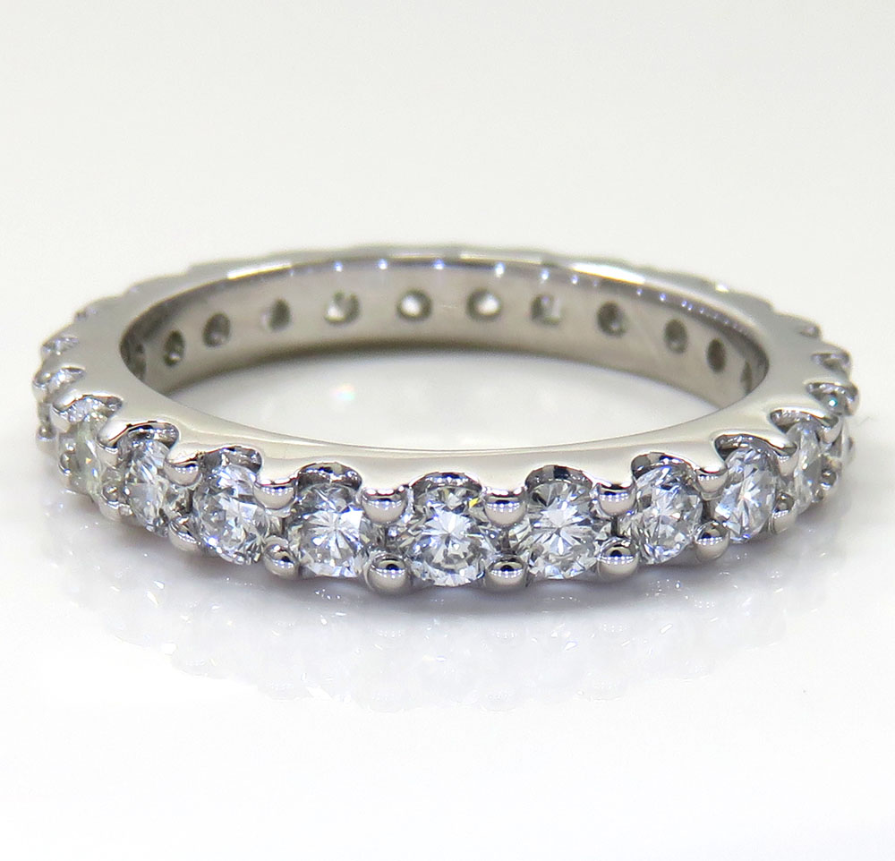 14k White Gold Single Row Eternity Diamond Wedding Band 1.17CT