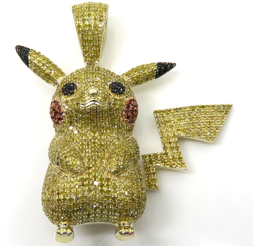 10k yellow gold canary diamond pikachu pendant 2.00ct