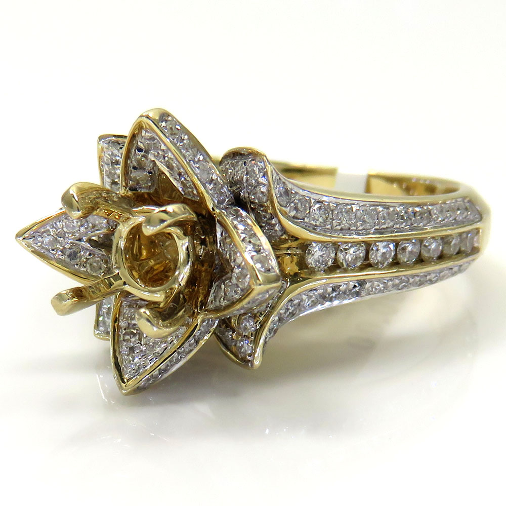 14k Yellow Gold Semi Mount Diamond Flower Ring 086ct