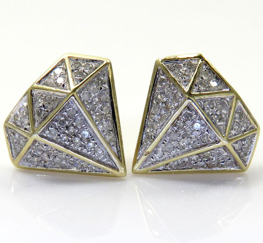 10k yellow gold diamond logo earrings 0.24ct