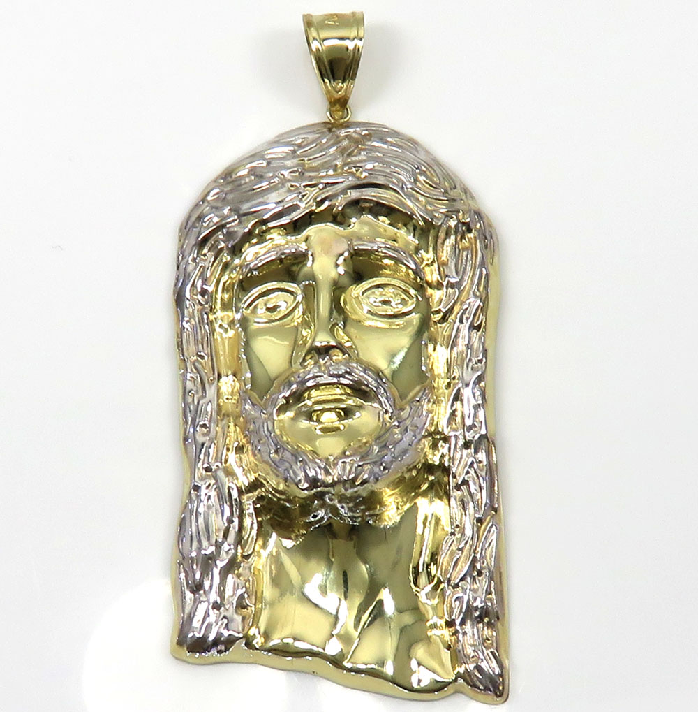 10k yellow gold two tone large jesus piece pendant aloadofball Choice Image