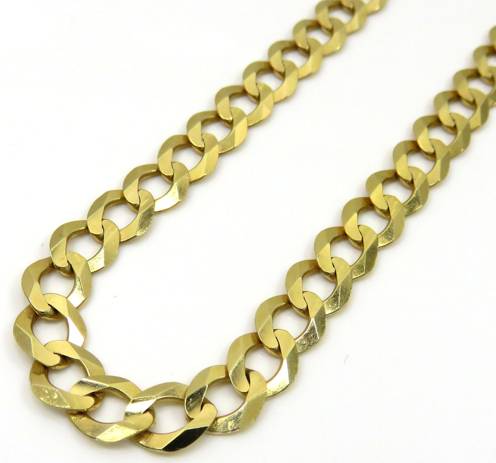 10k yellow gold solid cuban link chain 22-30 inch 7mm