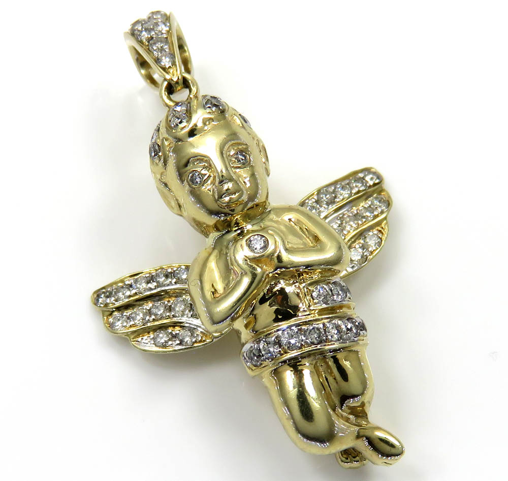 10k Yellow Gold Baby Cherub Diamond Pendant 0.85CT