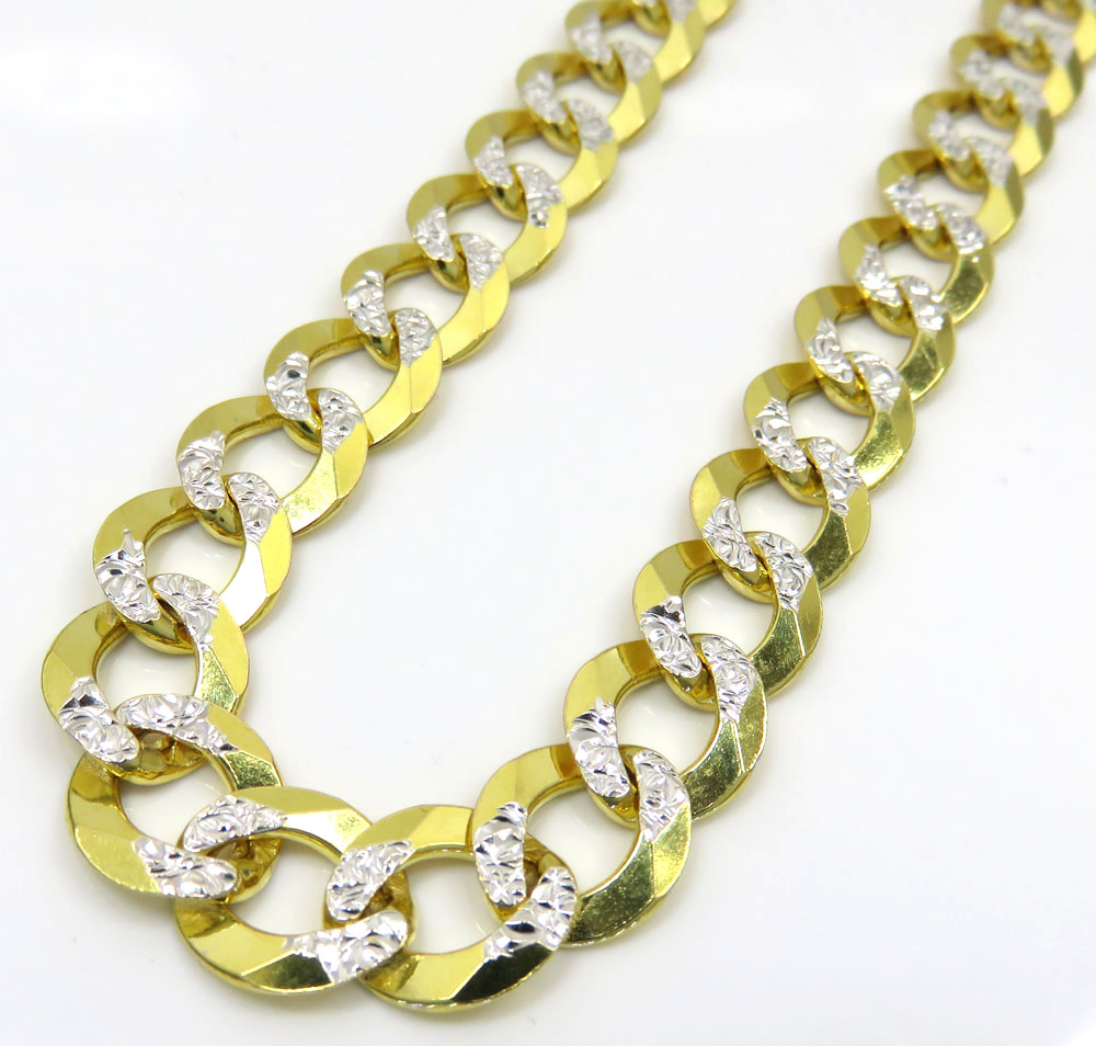 14k yellow gold diamond cut thick cuban chain 26 inch 9.6mm