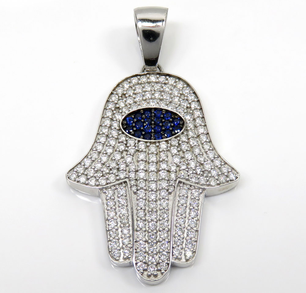 14k white gold diamond large hamsa pendant 6.00ct