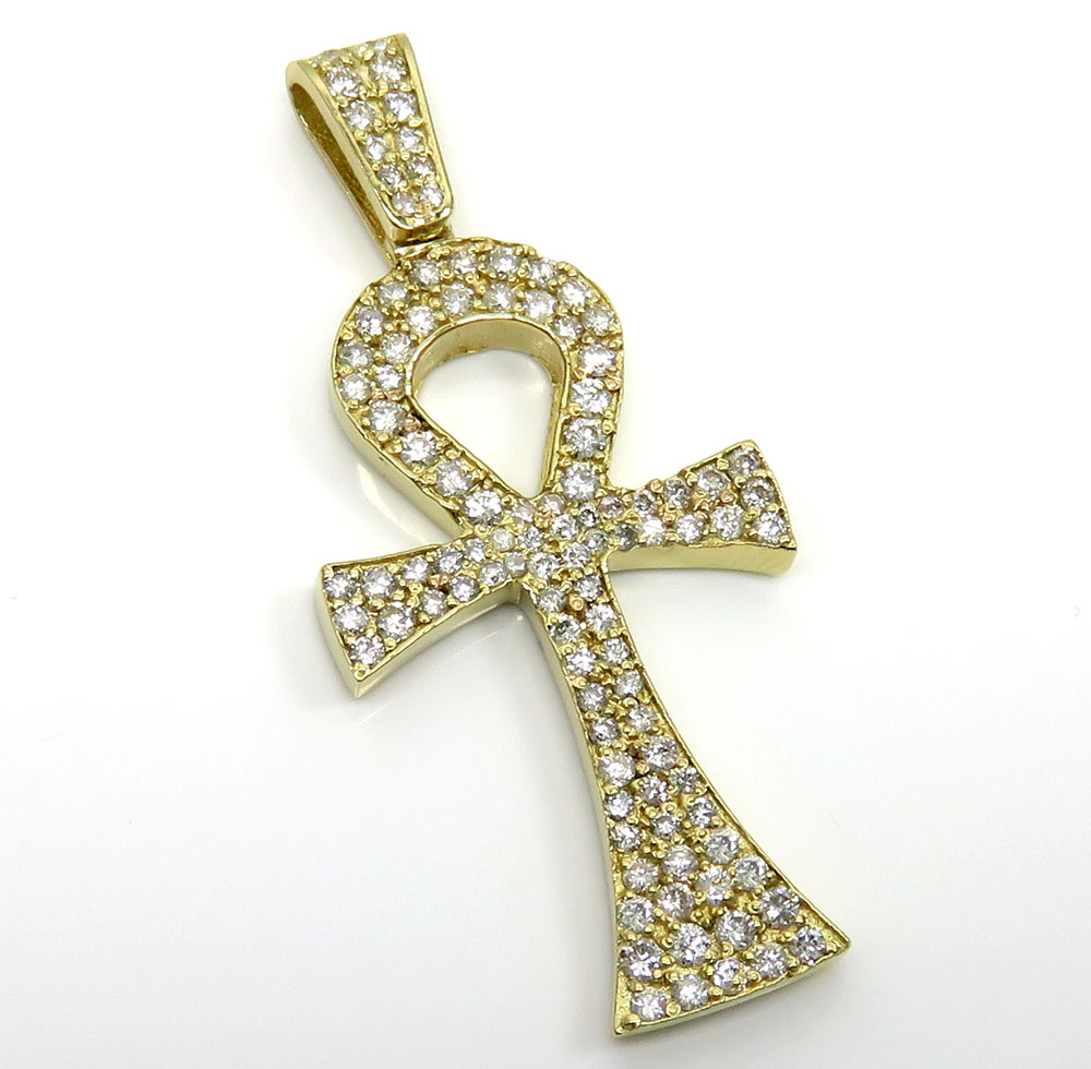 14k yellow gold diamond ankh cross 2.00ct