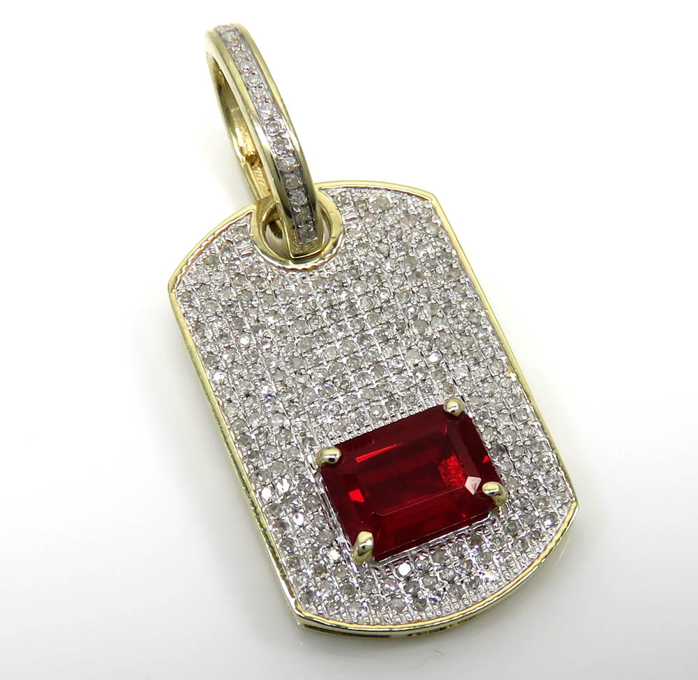 10k yellow gold red ruby diamond dog tag pendant 060ct mozeypictures Images