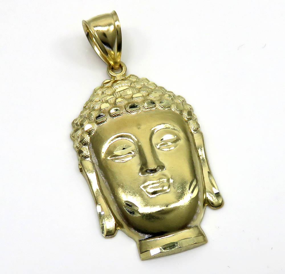 10k yellow gold large buddha face pendant