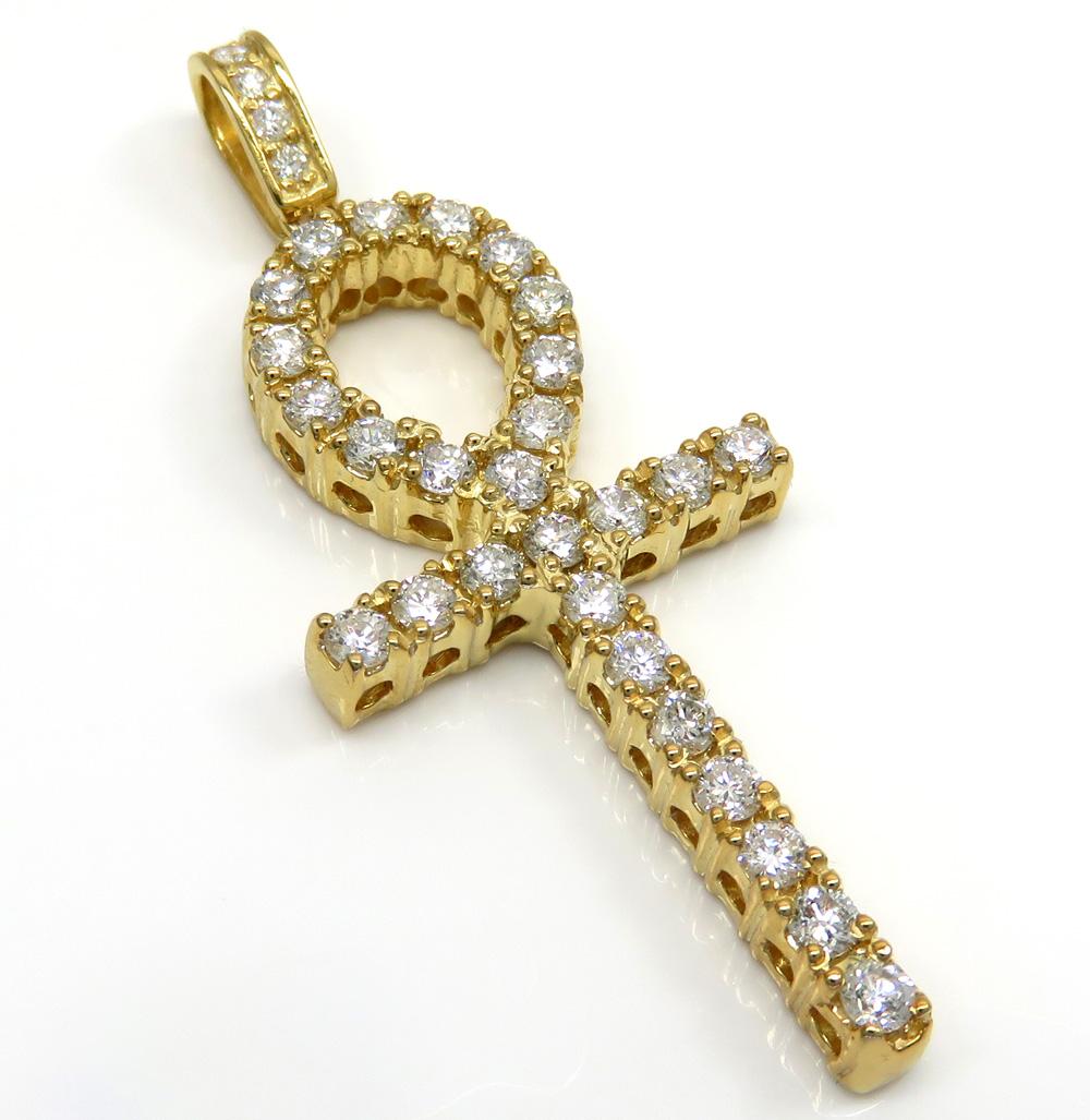 14k yellow gold large cut diamond ankh cross 2.10ct