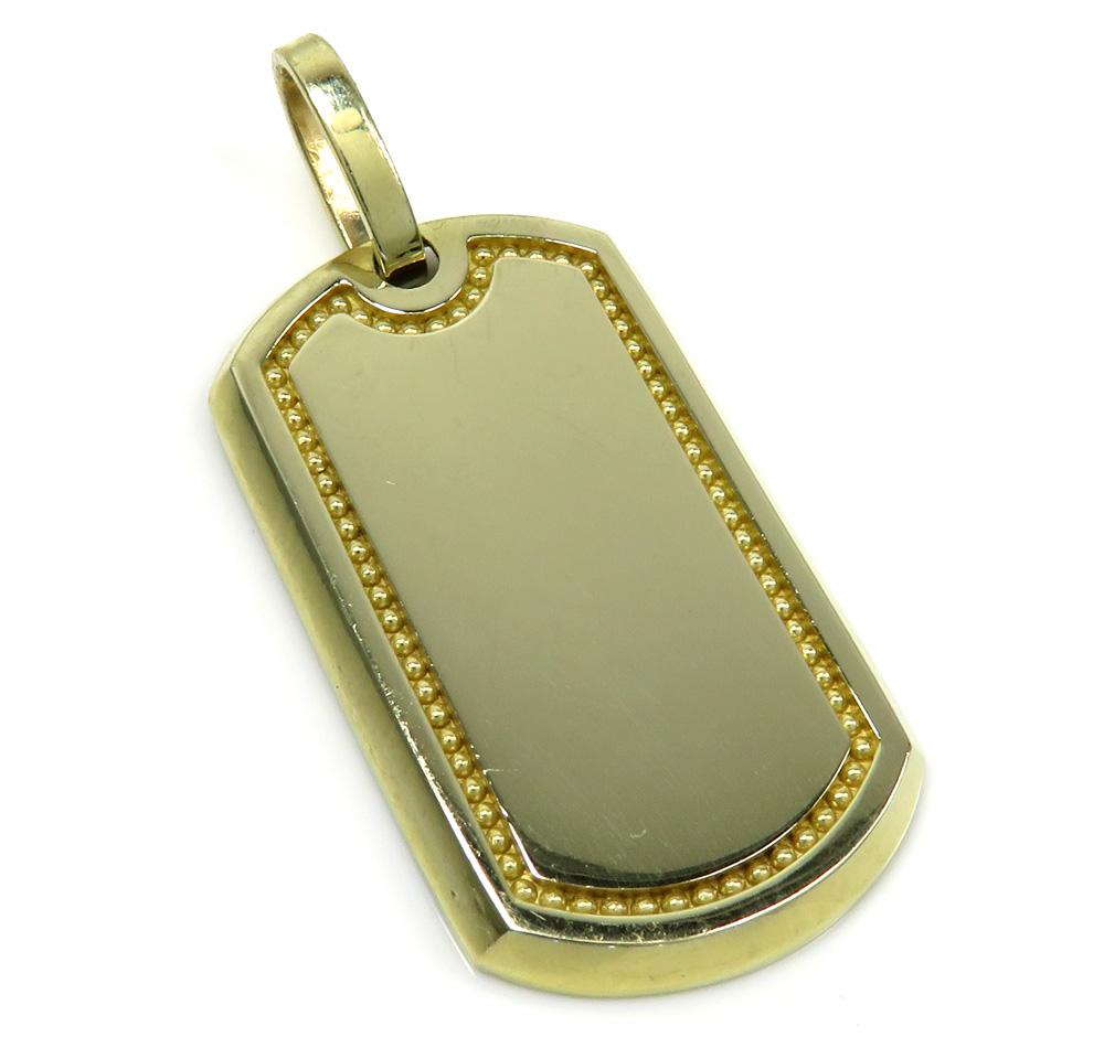 10k yellow gold bead frame dog tag pendant