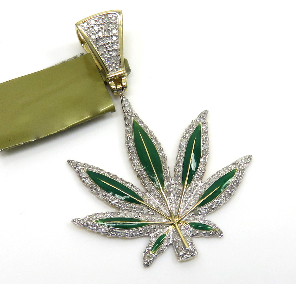 10k yellow gold diamond green enamel marijuana leaf pendant 0.62ct