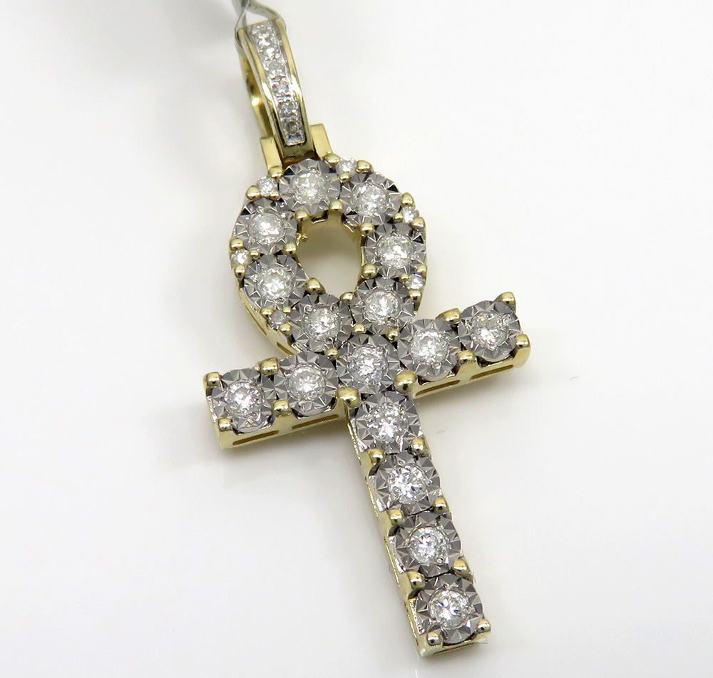 10k yellow gold medium diamond cut diamond ankh cross 0.58ct