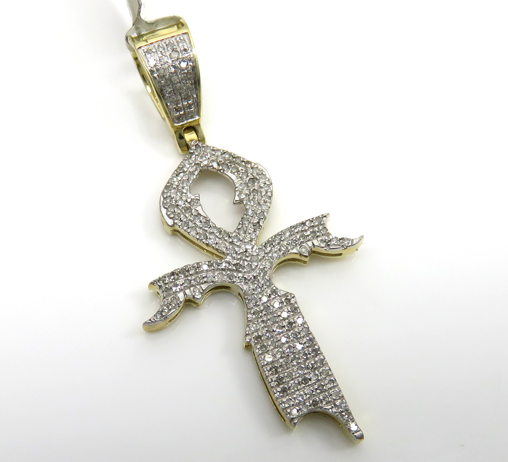 10k yellow gold diamond dagger ankh cross 0.44ct