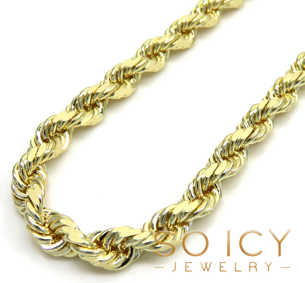 K/&C 10k Yellow Gold Tennis Charm on a 14K Yellow Gold Carded Rope Chain Necklace