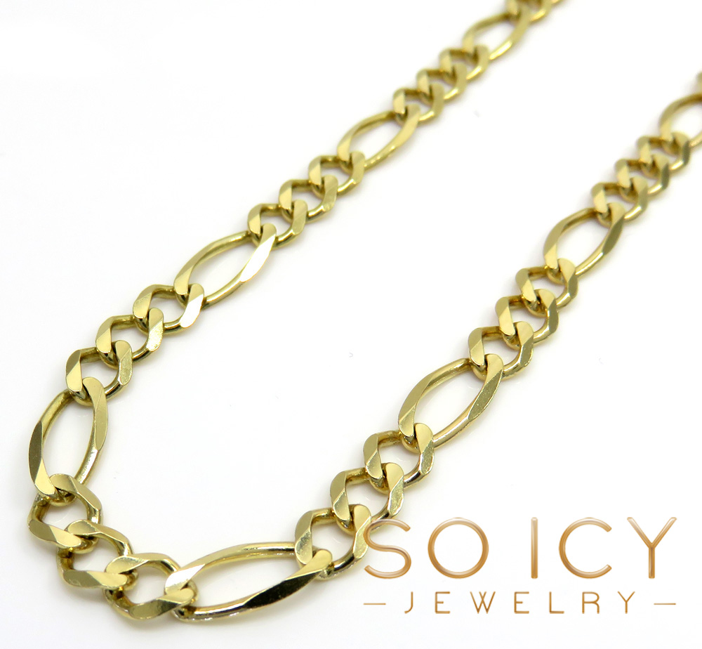 14k yellow gold solid figaro link chain 22 inch 4.50mm