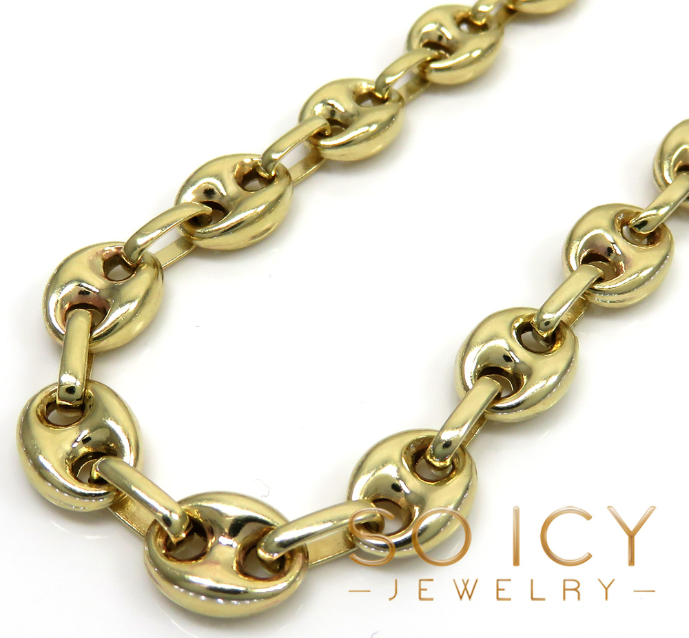 14k yellow gold gucci solid link chain 22-26 inch 7mm
