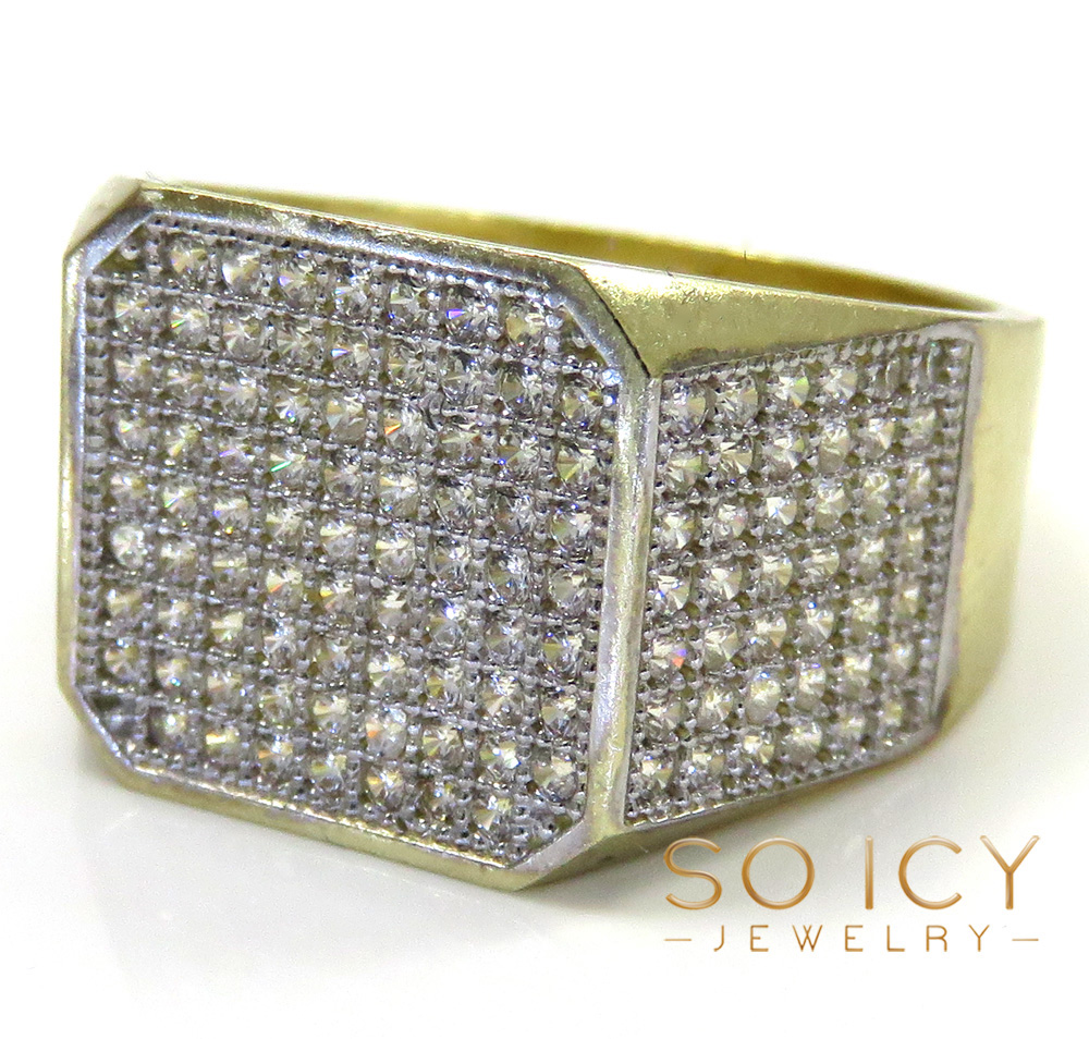 10k yellow gold hexagon cz ring 1.00ct