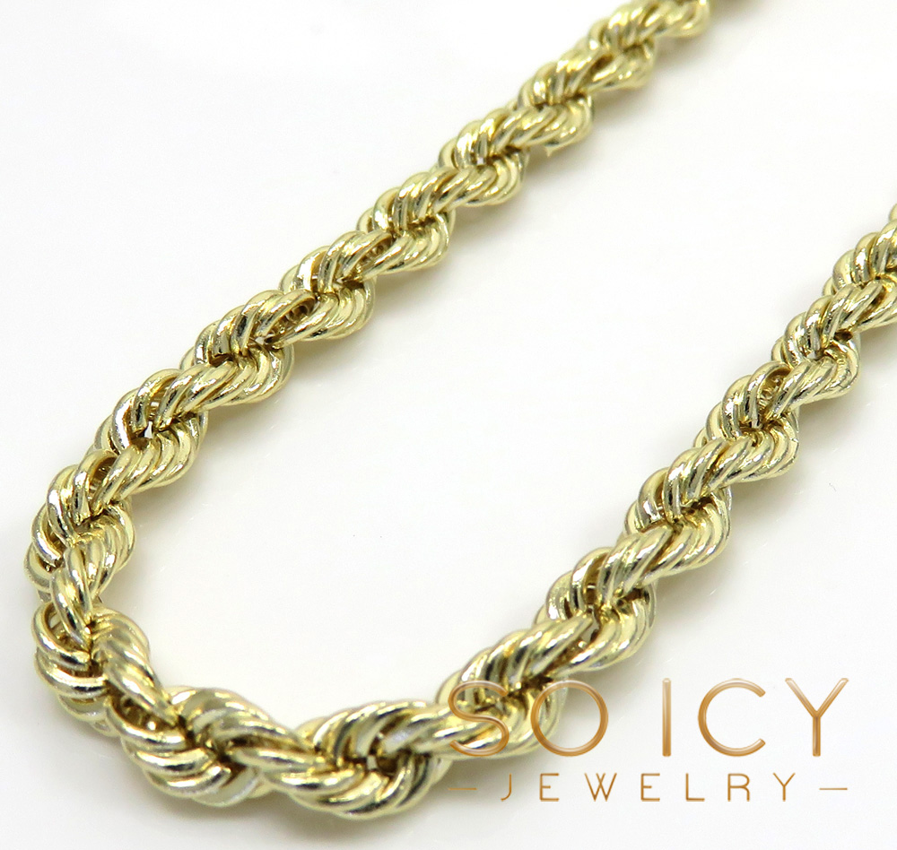 14k yellow gold hollow smooth rope chain 16-26 inch 3.50mm