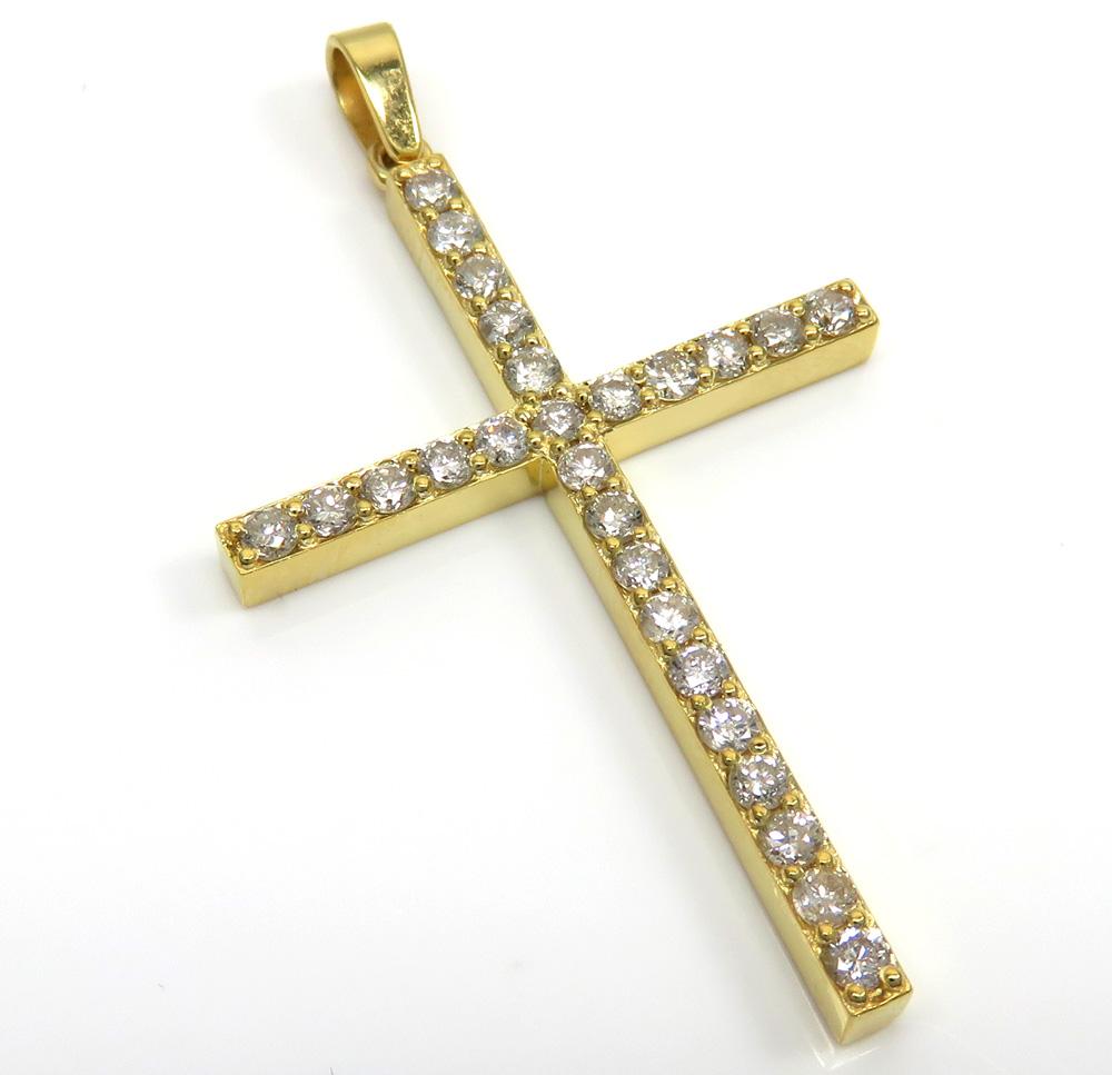 14k yellow gold 26 diamond prong cross 1.10ct