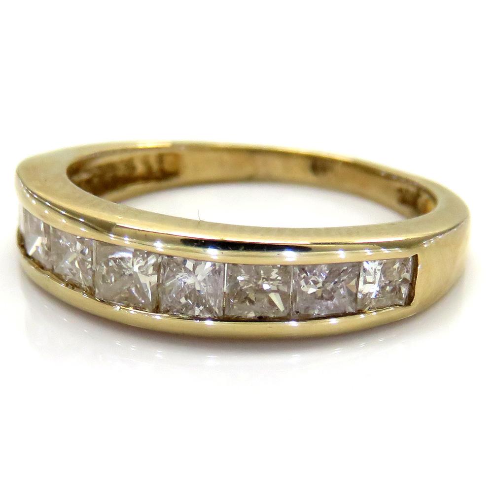 10K Yellow Gold Princess Diamond Wedding Band Ring 1.00CT