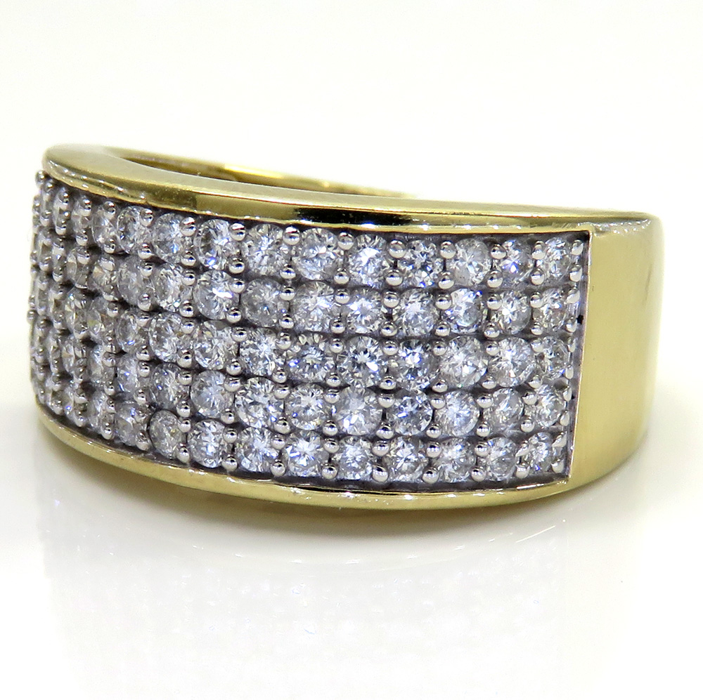 10K Yellow Gold Five Row Diamond Wedding Band Ring 1.43CT