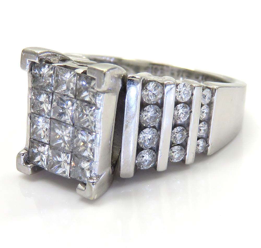 14k white gold princess diamond wedding engagement band ring 3.00ct