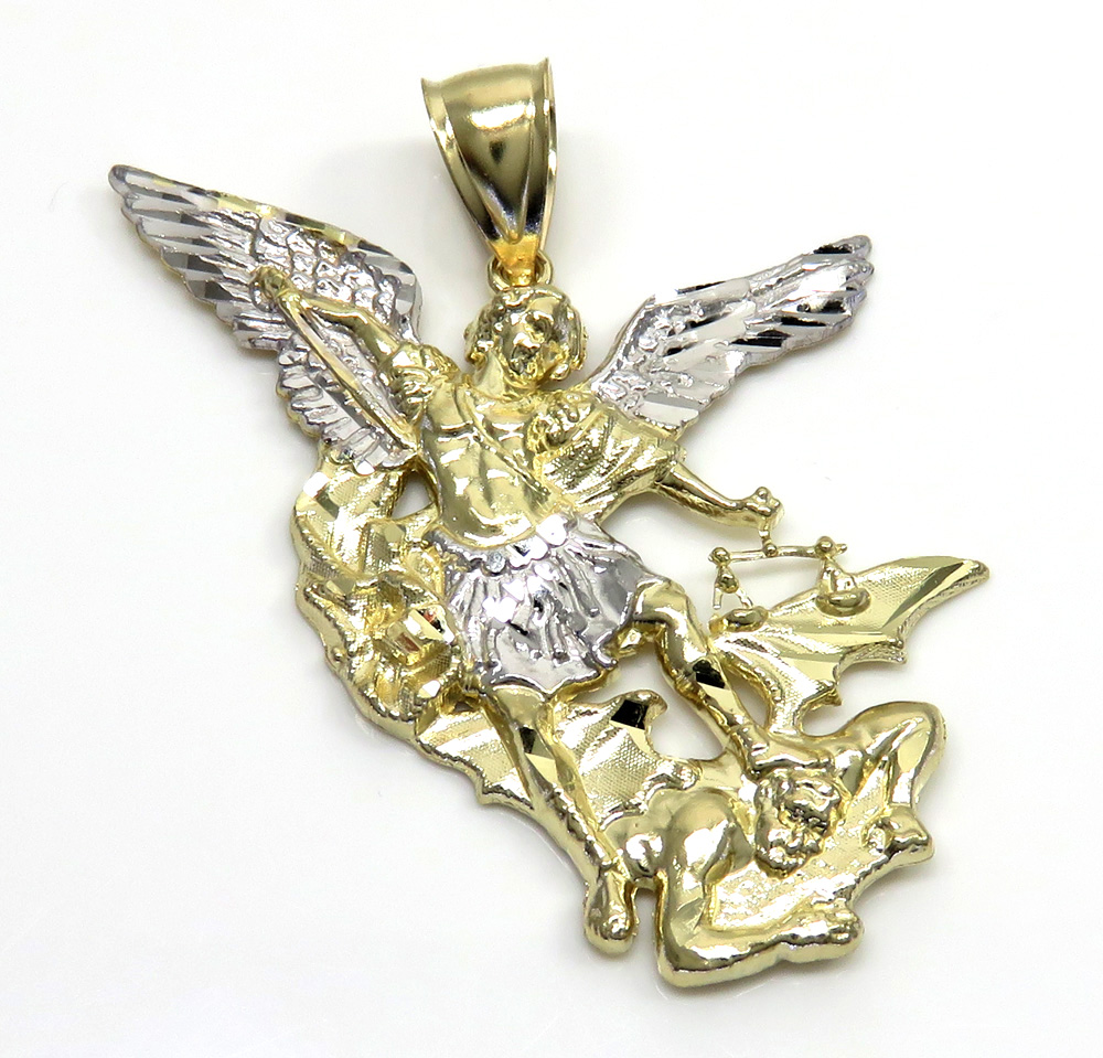 10k two tone gold medium angel v demon saint michaels pendant aloadofball Images