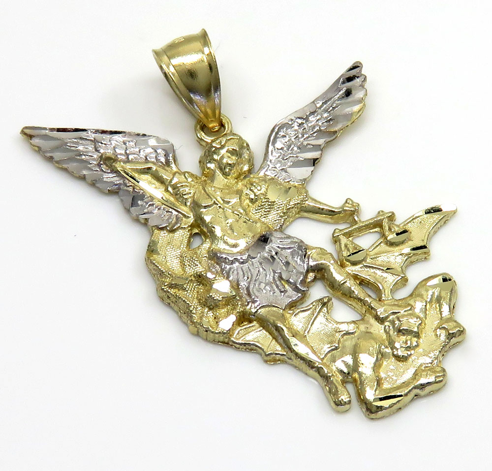 saints medal michaels karat gold hollow pendant in htm st large michael detailed image yellow