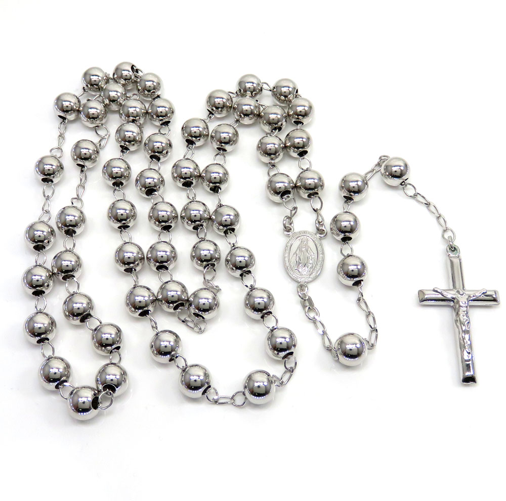 925 silver rosary italy necklace 30 inches 8mm