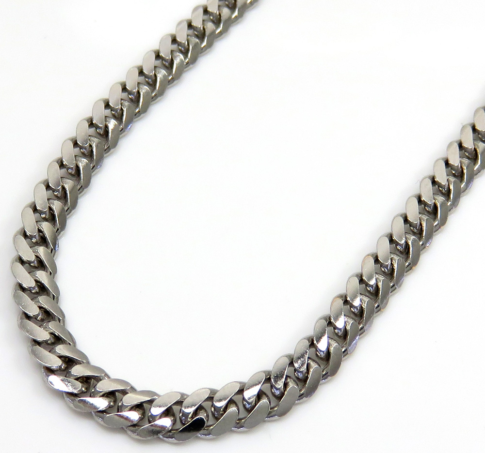 10k white gold solid miami chain 22-26 inch 3.50mm