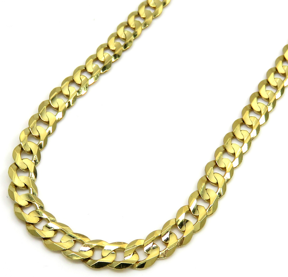 10k yellow gold solid tight link cuban chain 26 inches 5mm