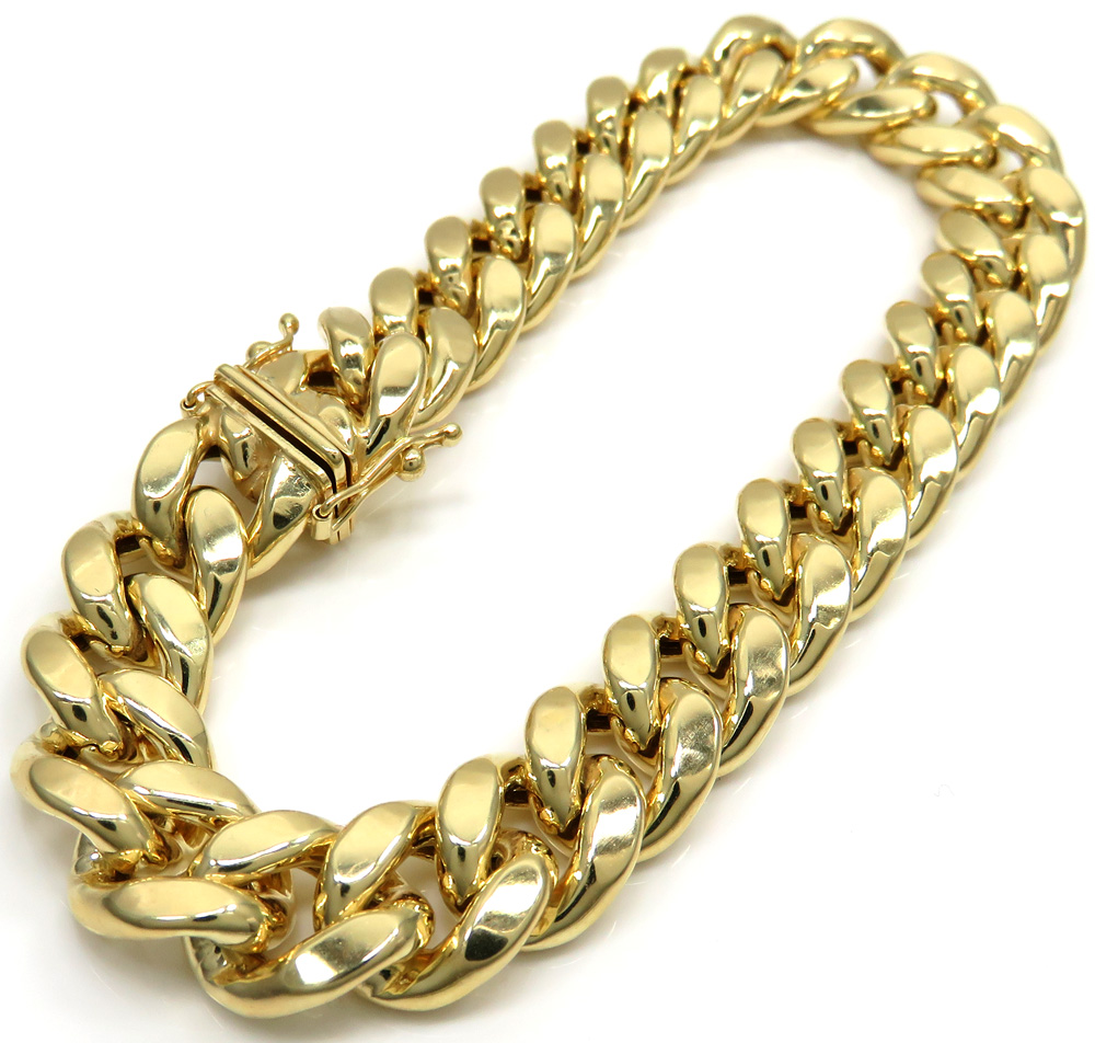 10k yellow gold large hollow puffed miami bracelet 9 inch 11mm