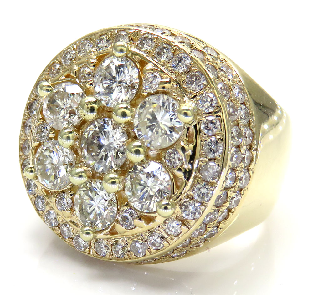 Pinky Ring 10K Men/'s Yellow Gold Band With 0.12CT Diamond// Wedding band