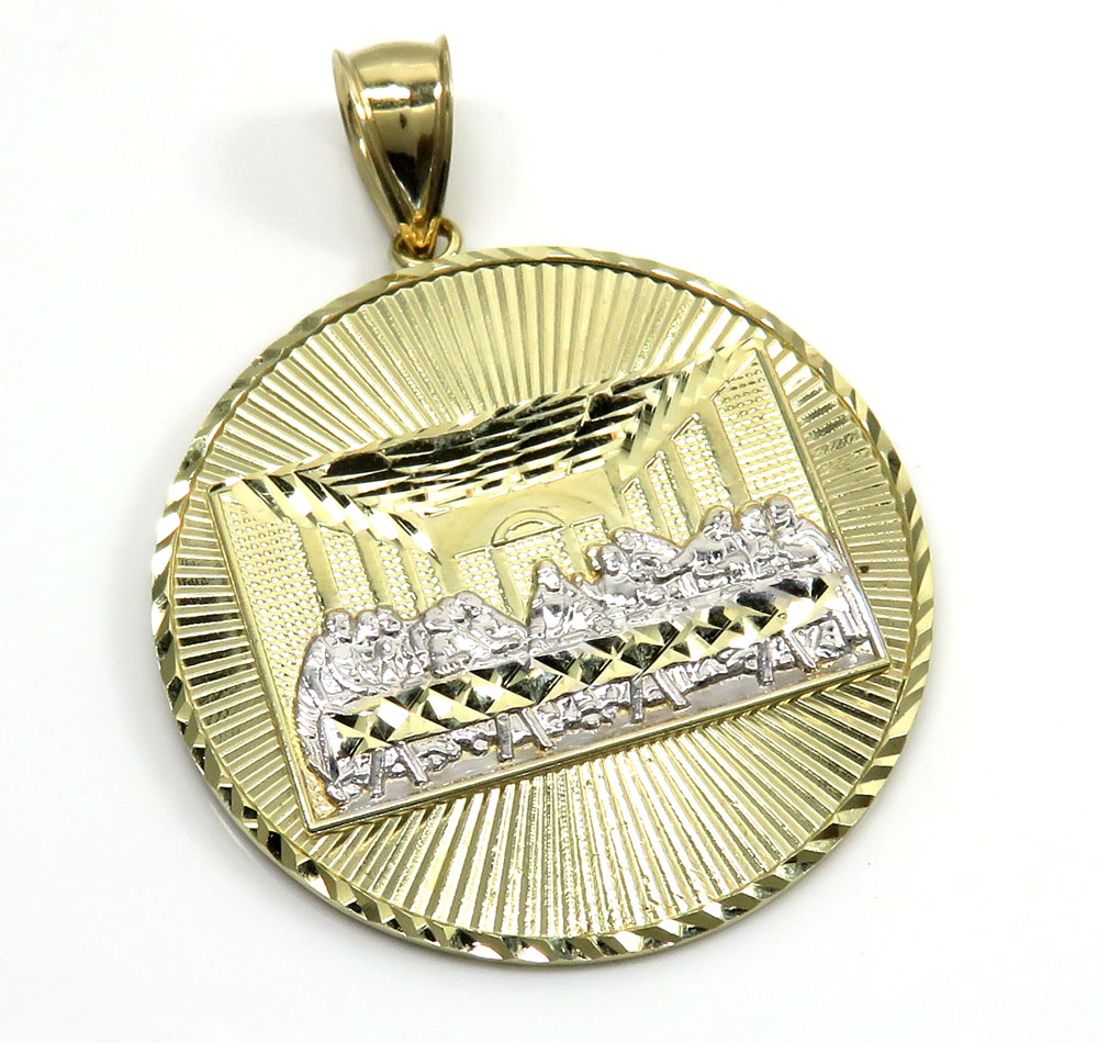 Mens Gold Last Supper Pendant 10K Yellow Gold Last Supper Medal