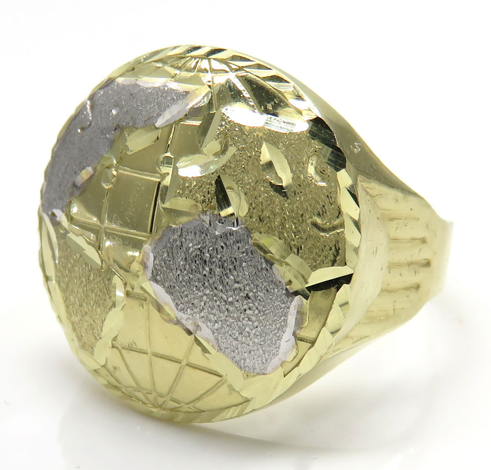 10k two tone gold world ring